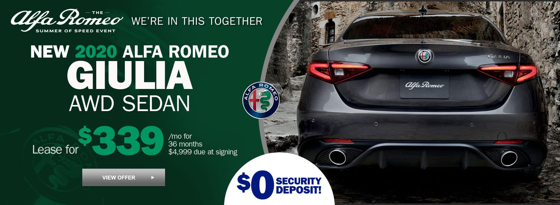 New 2020 alfa Romeo Giulia AWD Sedan for $339 per month for 36 months