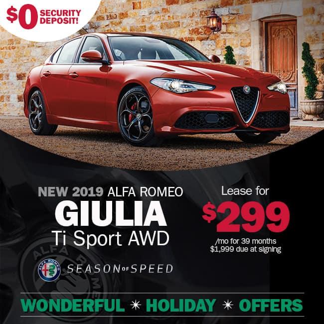 New 2019 Alfa Romeo Giulia TI SPORT AWD Sedan