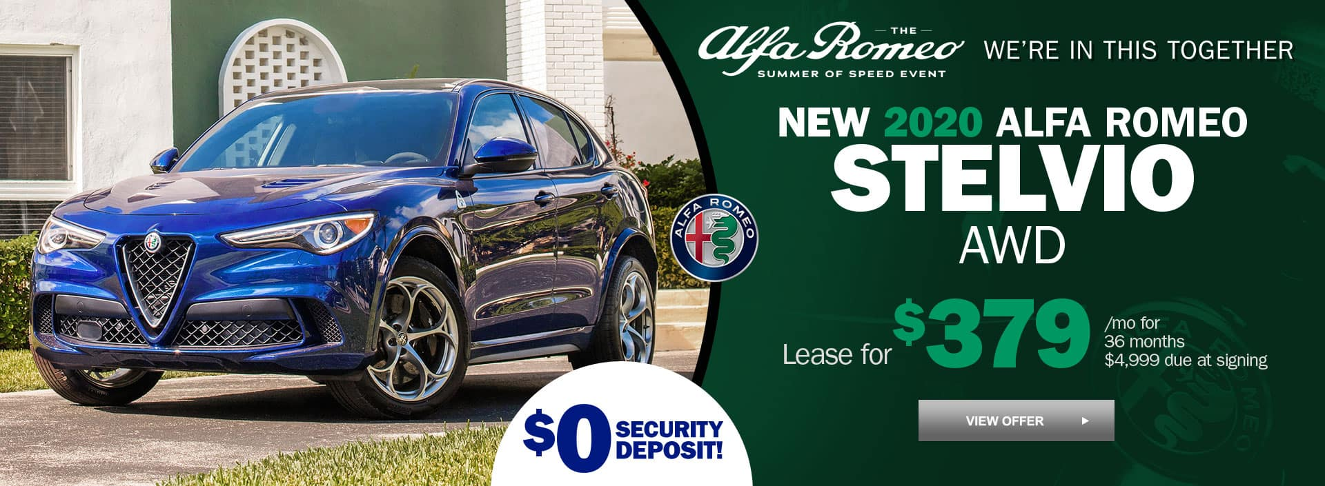 New 2020 alfa Romeo Stelvio AWD Sedan for $379 per month for 36 months