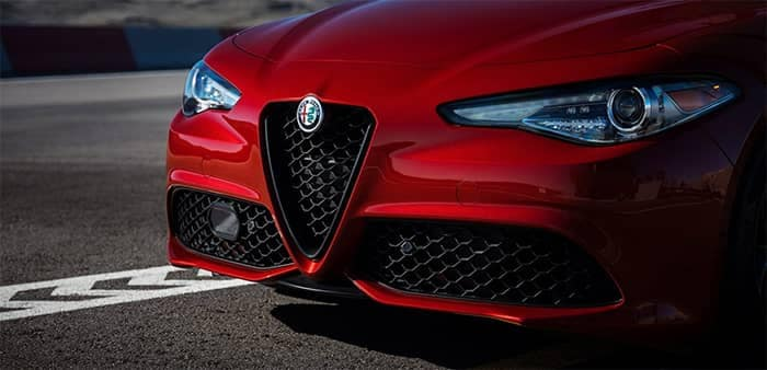 Alfa Romeo Giulia Close Up Front End on Roadway