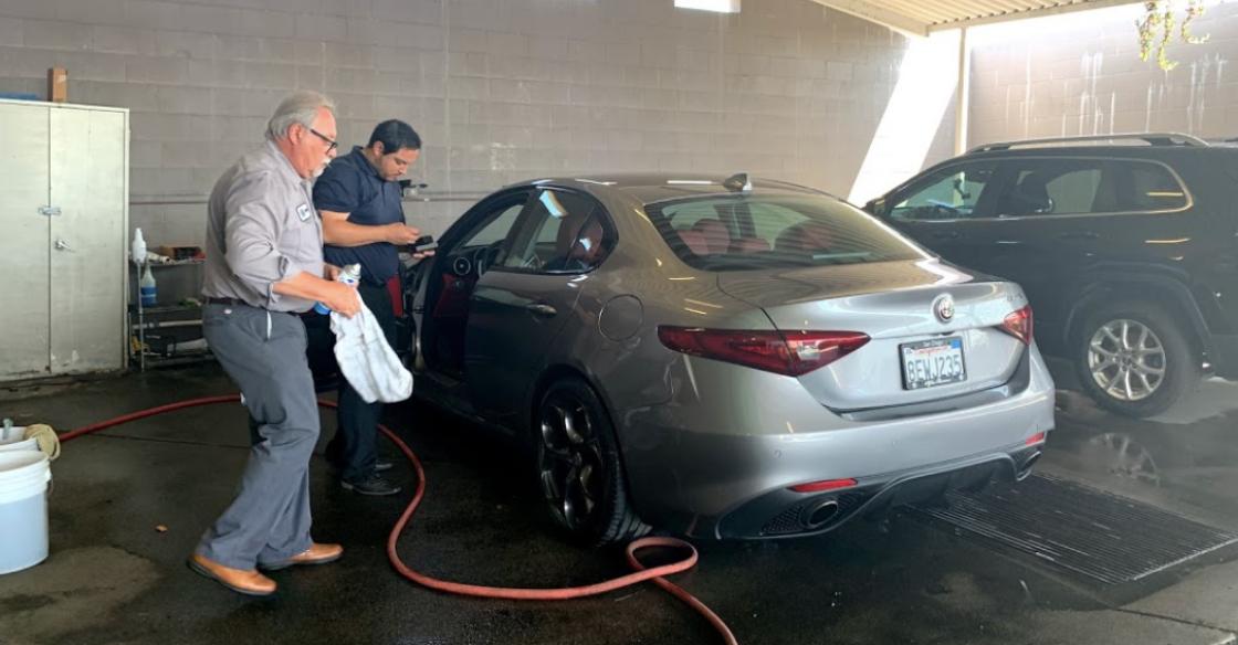 Getting a car wash at Alfa Romeo San Diego