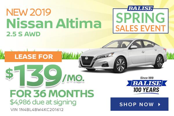 New 2019 Nissan Altima 2.5 S AWD