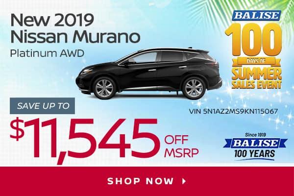 New 2019 Nissan Murano Platinum AWD