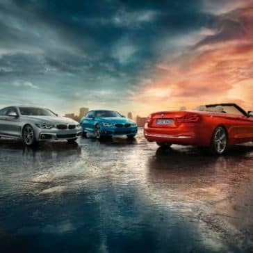 Three 2019 BMW 4 Series parked, one convertible, one Coupe, one Gran Coupe.