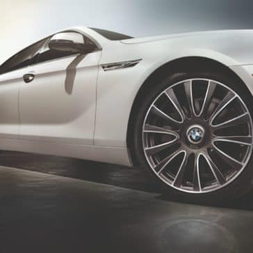 Close-up photo of the BMW 6 Series rim and tire.