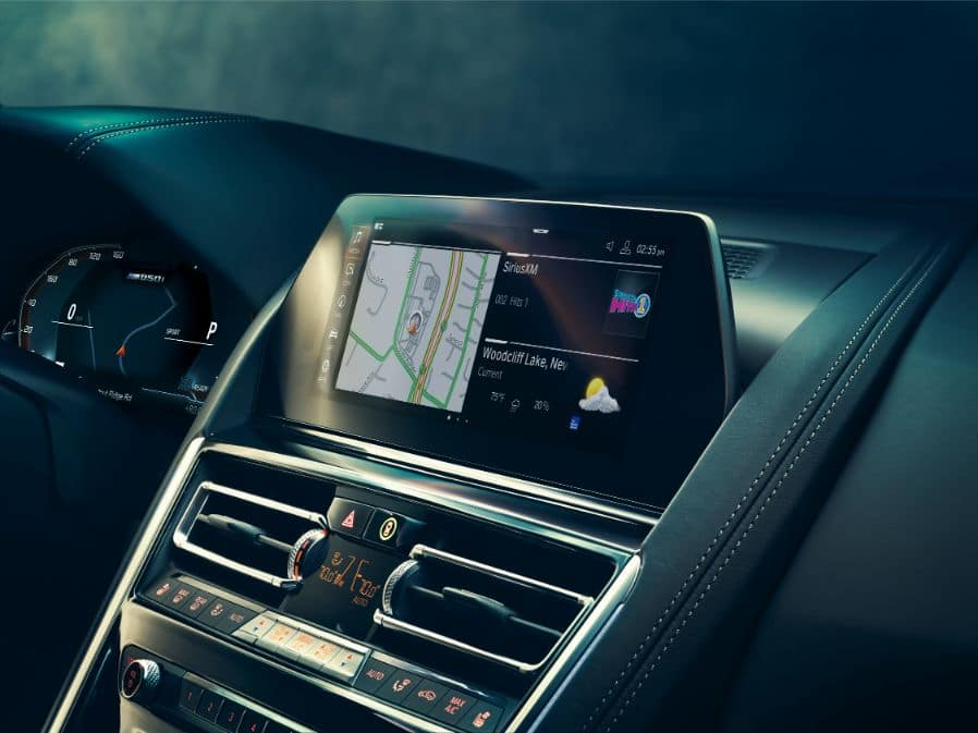 Interior picture showing the 2019 BMW 8 Series navigation panel.