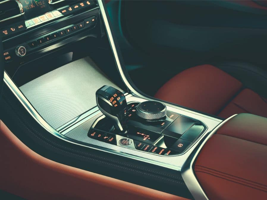Interior shot of the 2019 BMW 8 Series showing the modern gearshift.