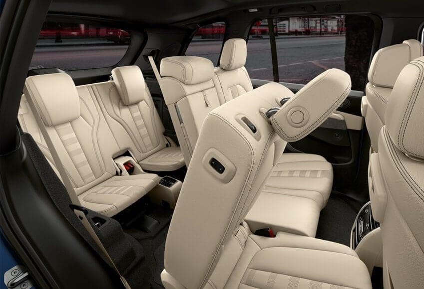 Interior view of the 2020 BMW X5 folding second row.
