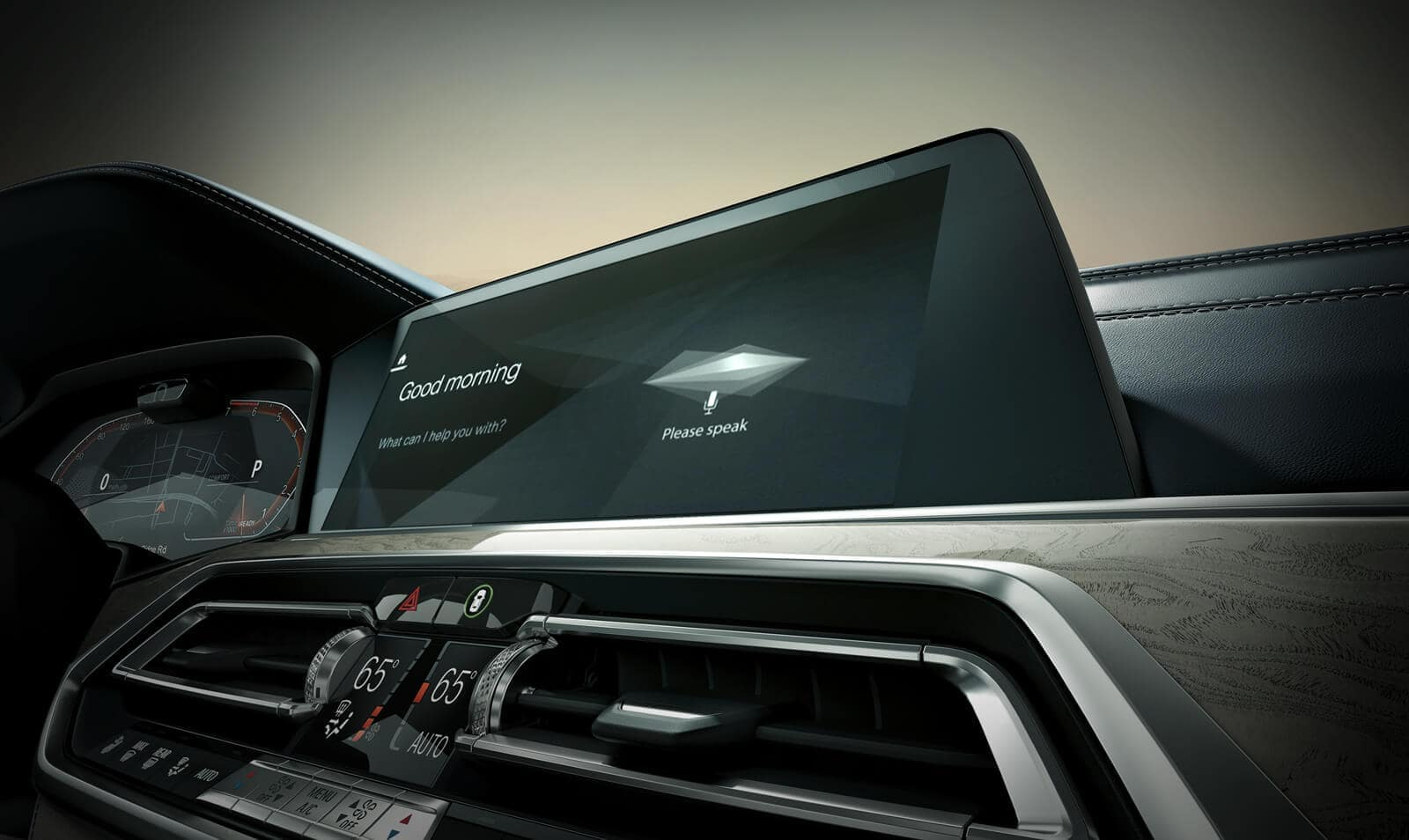 Interior picture of the BMW X7 showing the Intelligent Assistant feature.