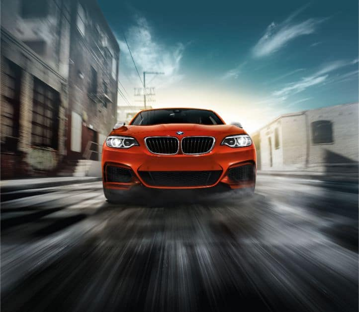 Frontal view of the grille and headlights of the 2019 BMW 2 Series Coupe.