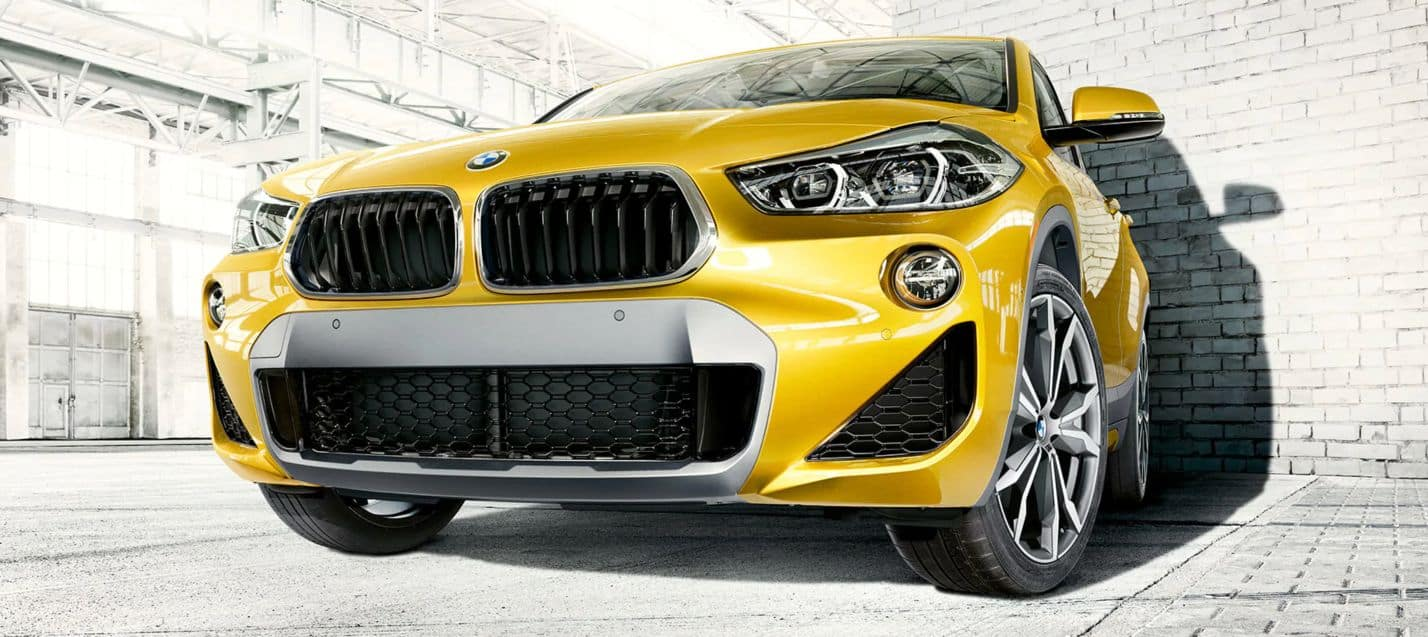 Close-up of the 2019 BMW X2 grille and headlight.