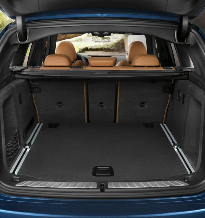 An interior picture of the BMW X3 showing the cargo space in the rear of the vehicle.