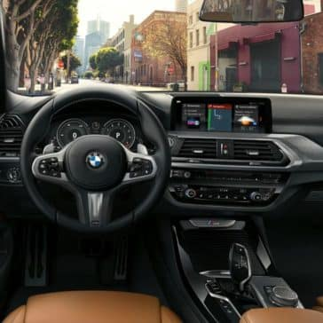 Interior of the 2019 BMW X3 showing the steering wheel & dashboard.