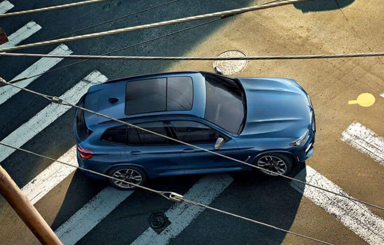 Aerial view of the 2019 BMW X3.