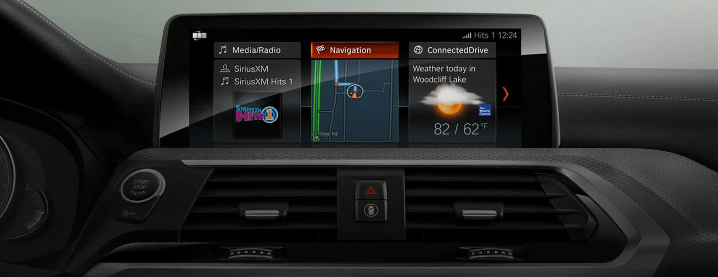 Interior photo of the 2019 BMW X3 showing the touchscreen navigation panel.