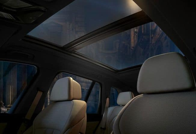 An interior view of the 2020 BMW X5 Panoramic Moonroof.