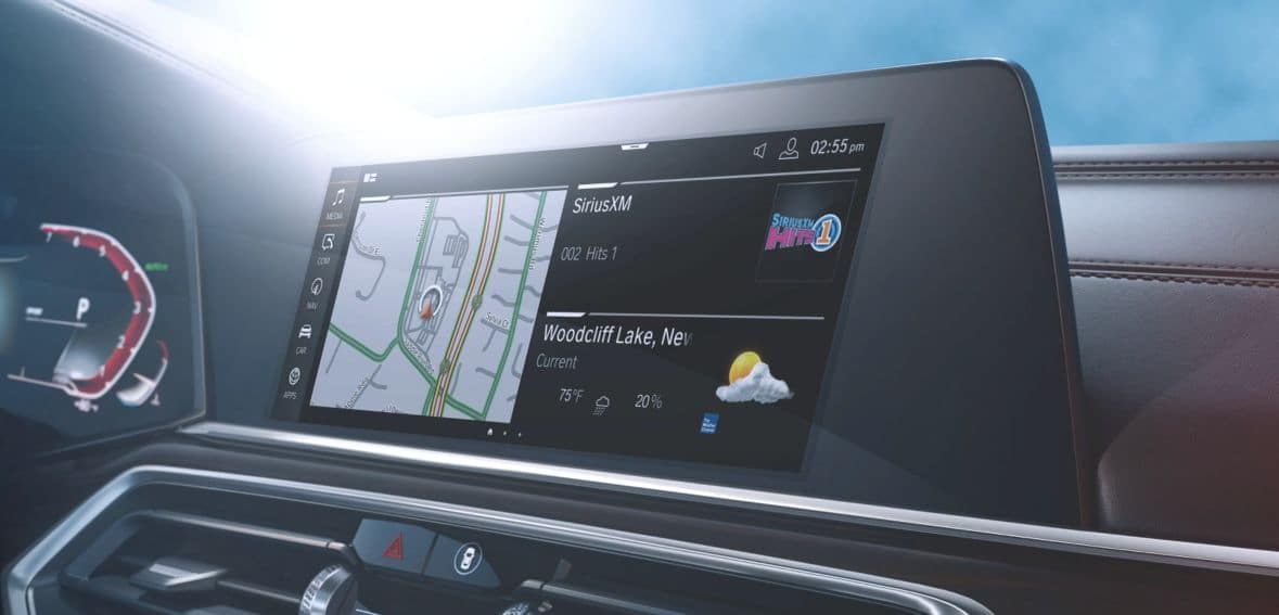A close-up of the navigation pane inside the 2020 BMW X5.
