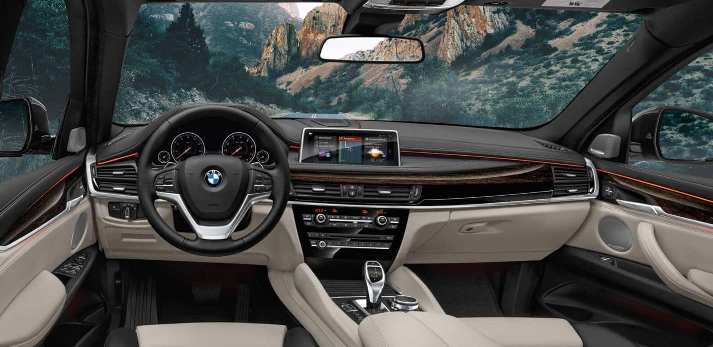 An interior view of the 2019 BMW X6 Cockpit.