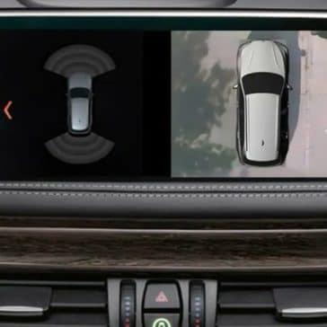A screen cap showing the optional Surround View Camera System on the 2019 BMW X6.