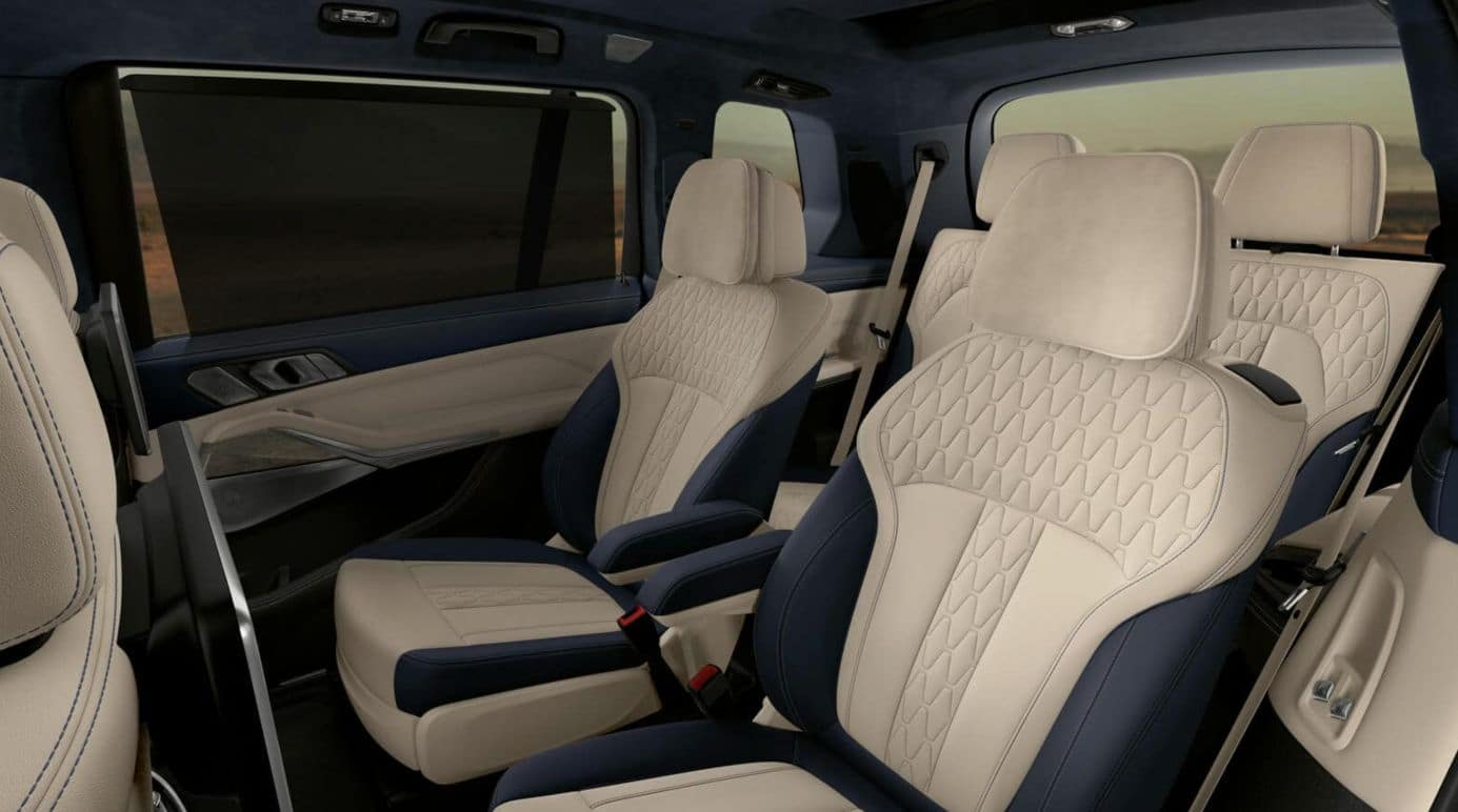 An interior picture of the BMW X7 showing the third row of seating.