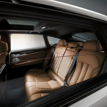 An interior picture of the BMW 6 Series, showing the spacious second row of seating.