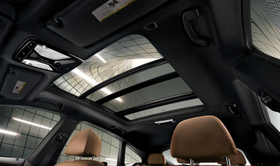An interior picture showing the moonroof of the BMW 6 Series