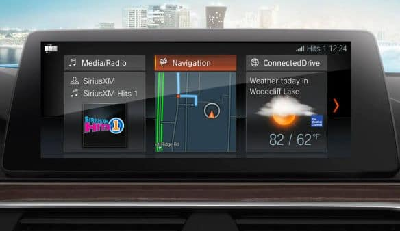 A close-up of the 2019 BMW 5 Series entertainment and navigation pane.