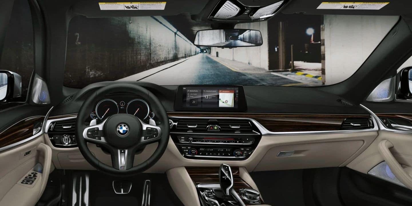 An interior picture of the BMW 5 Series showing the dashboard.
