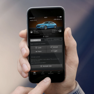 A picture showing the BMW Connected application.