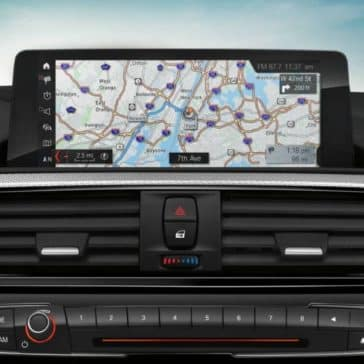 An interior picture showing the navigational pane in the BMW 2 Series.