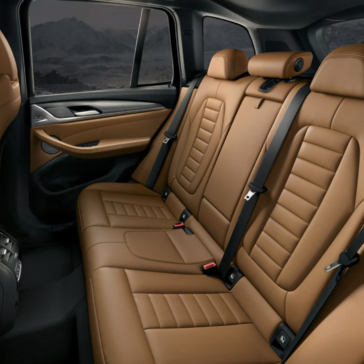 An interior picture showing the second row of seating in the 2019 BMW X3 SAV.