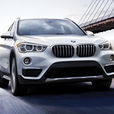 Showing the 2019 BMW X1 windshield and grille.