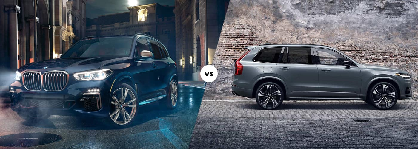 2021 bmw x5 vs 2020 volvo xc90 comparison image side by side