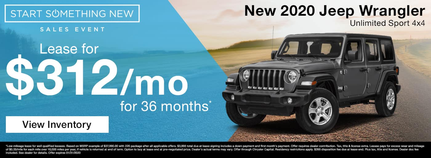 Lease a new 2020 Jeep Wrangler for $269 a month in Madison TN
