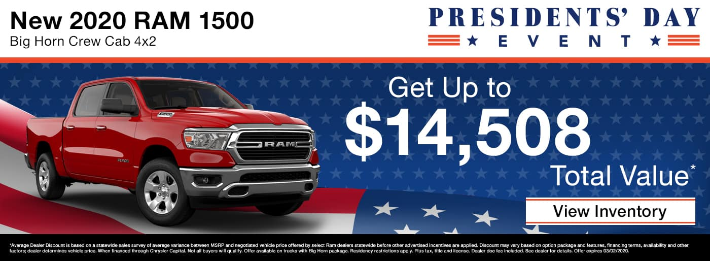 Get up to $14,508 total value on a new 2020 RAM 1500 in Madison TN