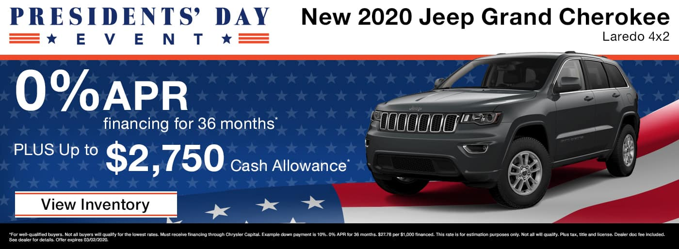 Drive a new 2020 Jeep Grand Cherokee and get up to $2,750 Cash Allowance plus 0% APR in Madison TN