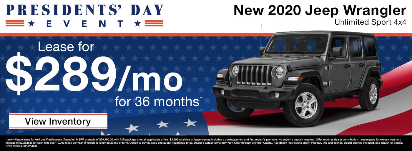Lease a new 2020 Jeep Wrangler Unlimited Sport for $289 a month in Madison TN