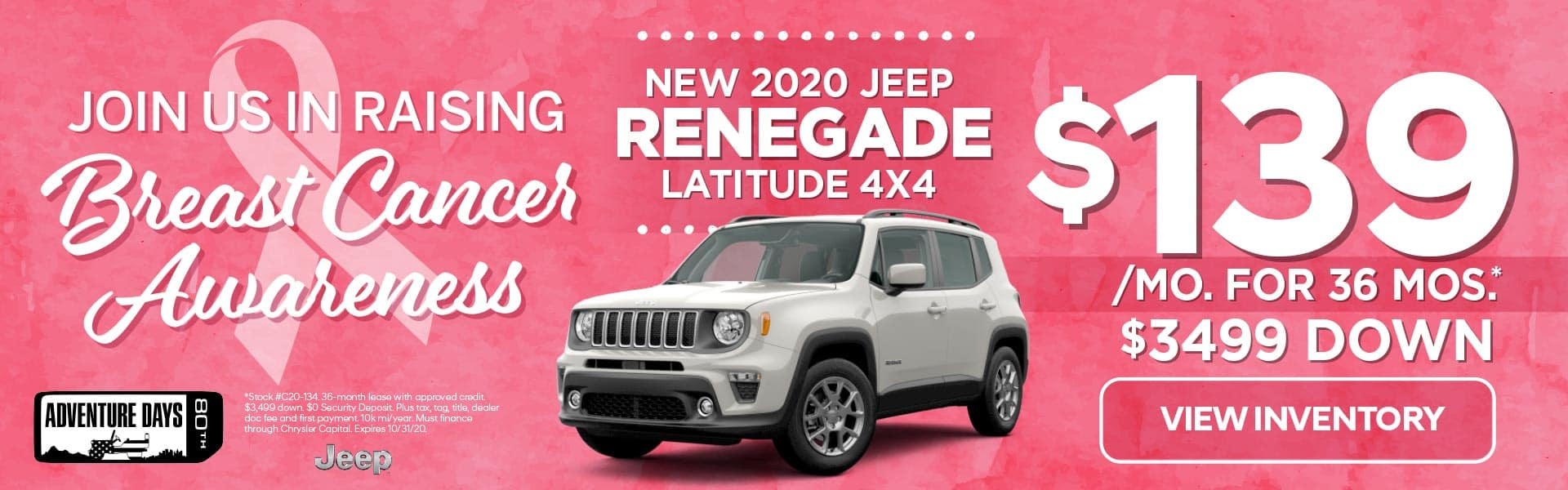 2020 Jeep Renegade Latitude 4x4 $139 x 36 mths with $3499 down (plus taxes, license/title, doc fee)