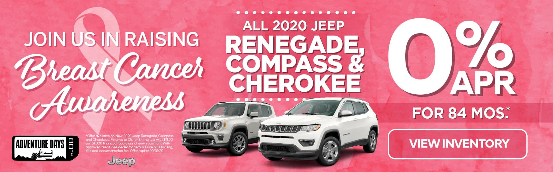 All 2020 Jeep Renegades, Compass', and Cherokees 0% for 84 months