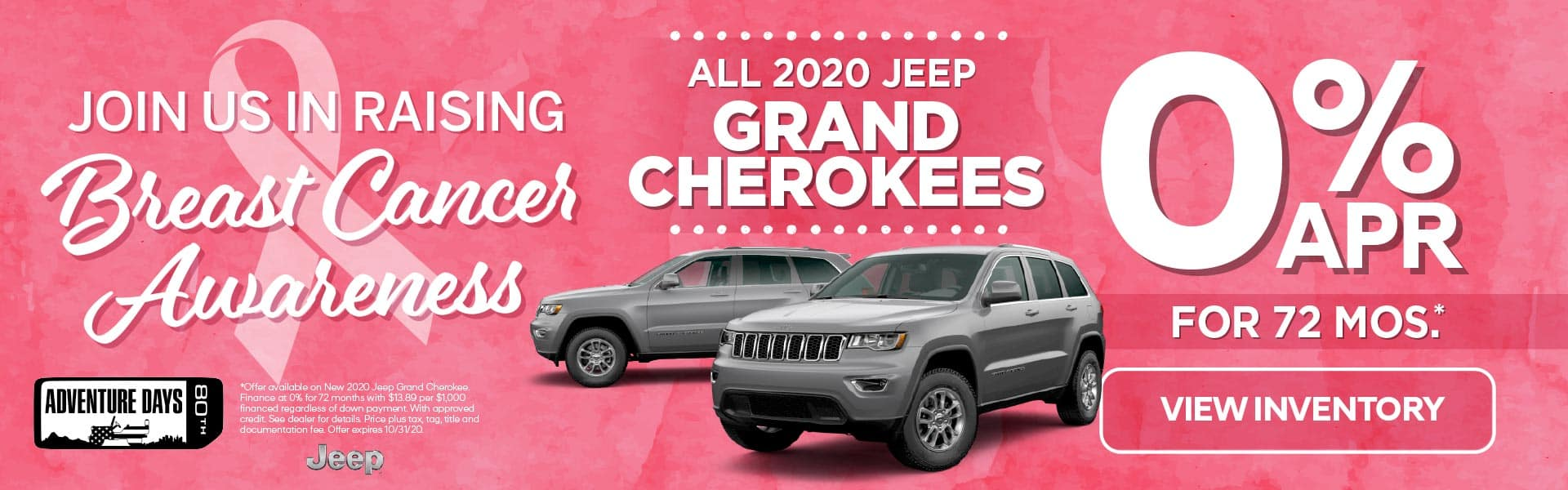 All 2020 Jeep Grand Cherokee's 0% for 72 months