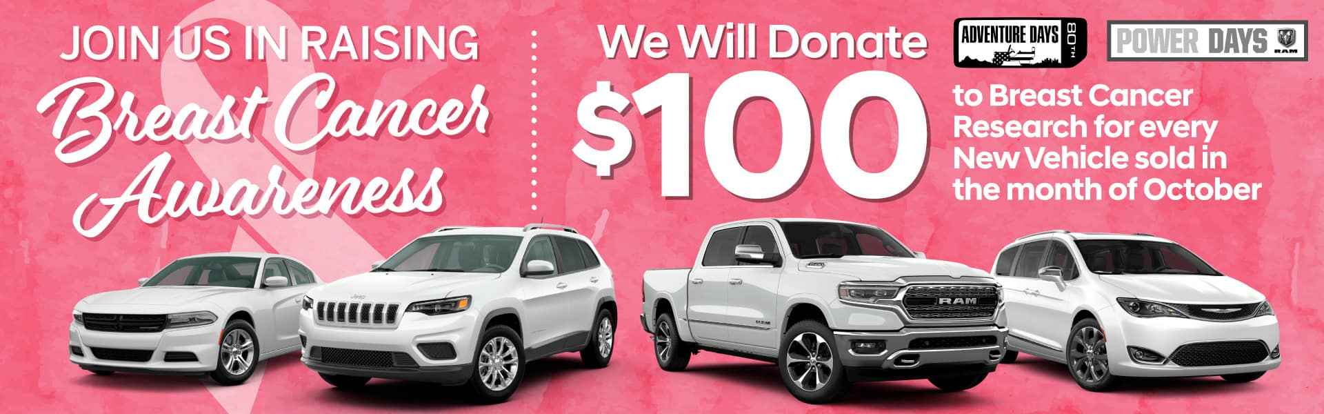 Join Us In Raising Breast Cancer Awareness | We Will Donate $100 for every car sold in October