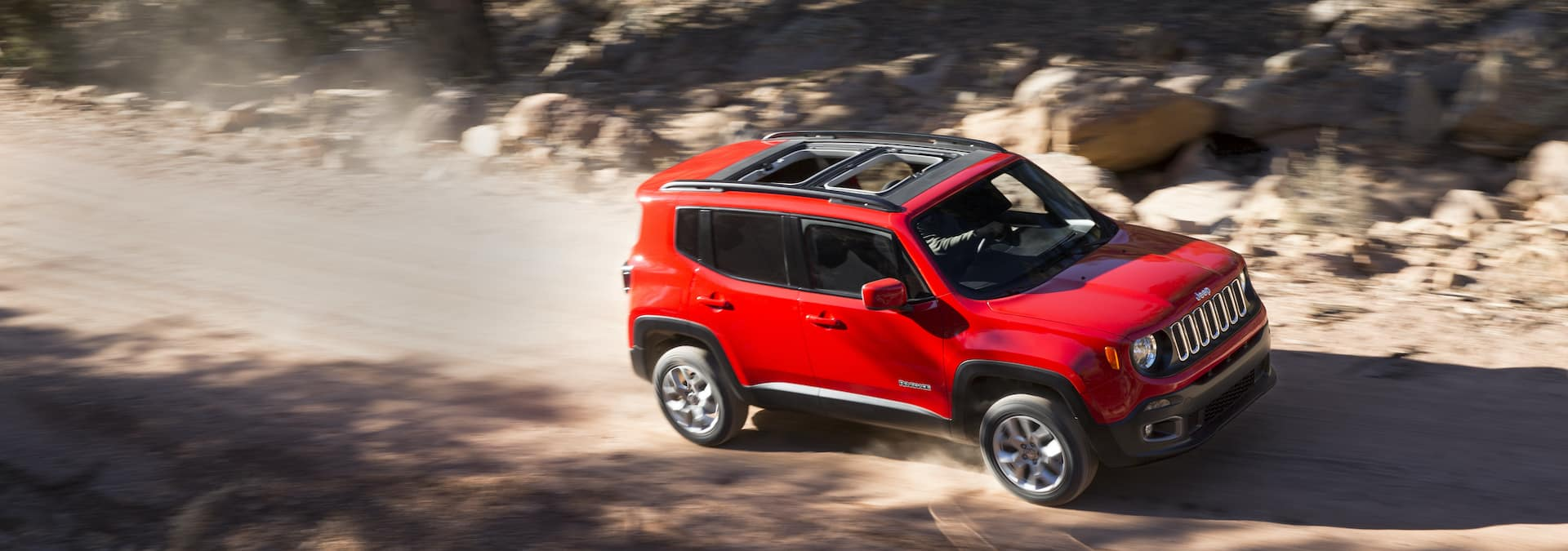 Compare the 2021 Jeep Renegade and the 2021 Chevrolet Equinox at Carolina CDJR in Elizabeth City, NC | 2021 Jeep Renegade driving on trail