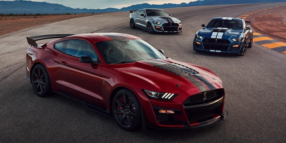 2020 Ford Mustang Models Parked on Raceway