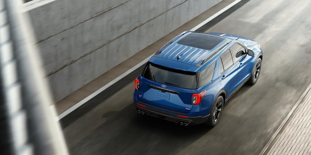 Blue 2020 Ford Explorer Driving on Highway
