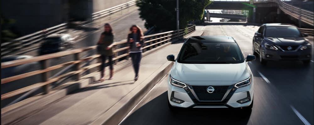 2021 Nissan Sentra driving down city street