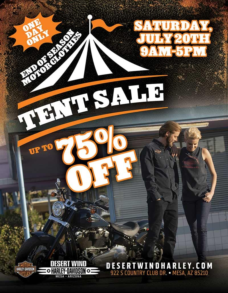 End of Season MotorClothes Tent Sale July 20 2019 at Desert Wind HD in Mesa