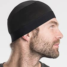 Black Skull Cap Soaker for Hot Weather Motorcycle Riding by Hair Glove 57706