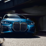 blue 2021 bmw 4 series exterior front view in viaduct