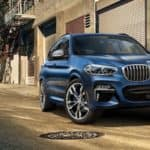 2021 bmw x3 blue exterior parked on road side
