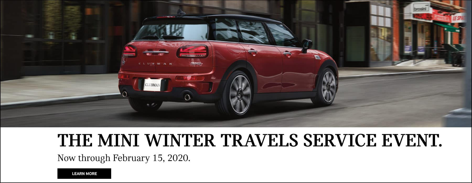 The MINI Winter Travels Service Event. See dealer for complete details. Red MINI Cooper S Countryman driving on city road.